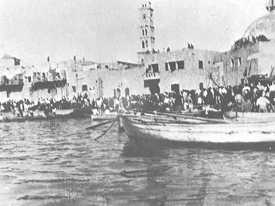The exodus Of Yafa's residents in boats in May 1948.